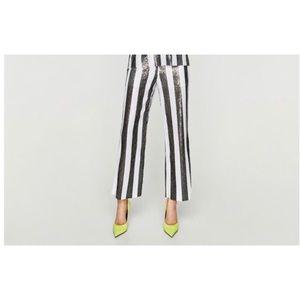 Zara Black & White Sequin Pants.